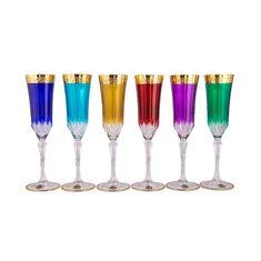 Набор разноцветных фужеров 180 мл АДАЖИО ГАРДЕН колорс от Bohemia Design, стекло, 6 шт.