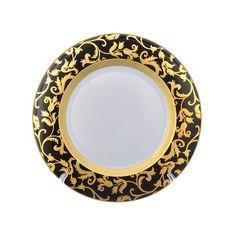Набор фарфоровых тарелок 27 см TOSCA BLACK GOLD от Falkenporzellan, 6 шт.