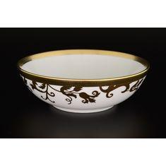 Набор круглых салатников 18 см TOSCA BLACK GOLD от Falkenporzellan, фарфор, 6 шт.
