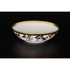 Набор круглых салатников 16 см TOSCA BLACK GOLD от Falkenporzellan, фарфор, 6 шт.
