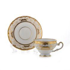 Набор фарфоровых чайных пар СИМФОНИЯ ЗОЛОТАЯ от Weimar Porzellan на 6 персон, чашка - 210 мл
