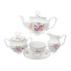 Чешский чайный сервиз МЕЙСЕНСКИЙ БУКЕТ (чашка классической формы) от Repast на 6 персон, 15 предметов