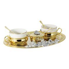 Чайный набор от Гамма (Chinelli), золотой декор, на 2 персоны, 7 предметов