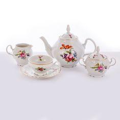Чайный фарфоровый сервиз ПОЛЕВОЙ ЦВЕТОК от Bernadotte на 6 персон, 15 предметов