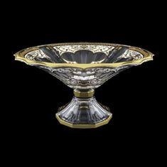 Ваза для фруктов 34 см на ножке ИМПЕРИЯ БЕЛАЯ РАСЦВЕТКА от Astra Gold, стекло