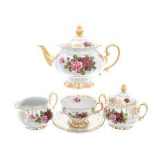 Чайный сервиз РОЗА ПЕРЛАМУТР от Queens Crown (Prince Porcelain) на 6 персон, 15 предметов, фарфор