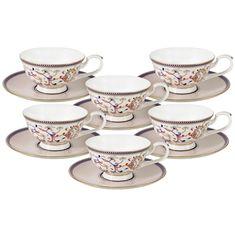 Набор чайных пар КОРОЛЕВА АННА от Anna Lafarg Emily на 6 персон, 12 предметов, костяной фарфор, подарочная упаковка