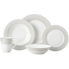 Набор фарфоровой посуды JEWEL (черный) от Maxwell & Williams на 4 персоны, 20 предметов, подарочная упаковка