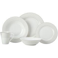 Набор фарфоровой посуды JEWEL (серый) от Maxwell & Williams на 4 персоны, 20 предметов, подарочная упаковка