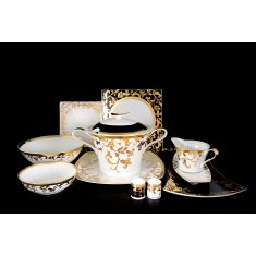 Фарфоровый столовый сервиз с квадратными тарелками TOSCA BLACK GOLD от Falkenporzellan на 6 персон, 27 предметов