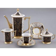 Кофейный сервиз мокко EMPIRE 2334, черный с золотом, от Rudolf Kampf на 6 персон, 15 предметов, подарочная упаковка