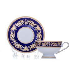 Набор чайных пар АЛЕКСАНДРИЯ КОБАЛЬТ С ЗОЛОТОМ от Bavarian Porcelain
